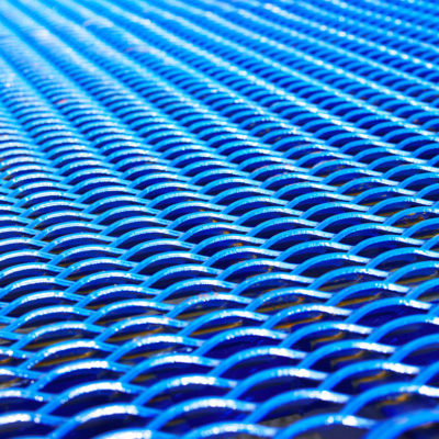 close-up on the blue mesh of a loading ramp