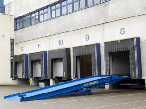 standard loading ramp attached to the loading dock in Germany