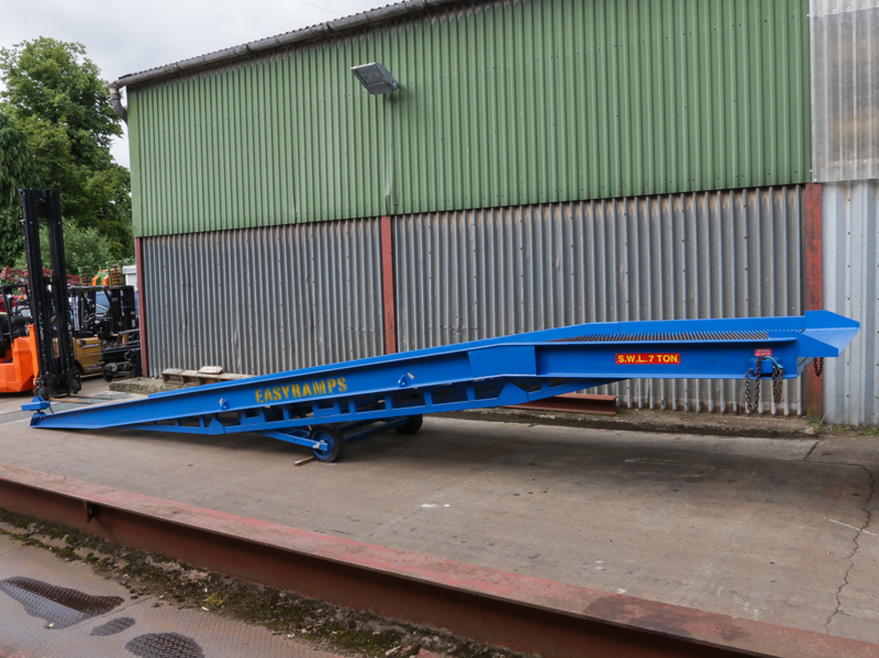 blue loading ramp on the industrial yard