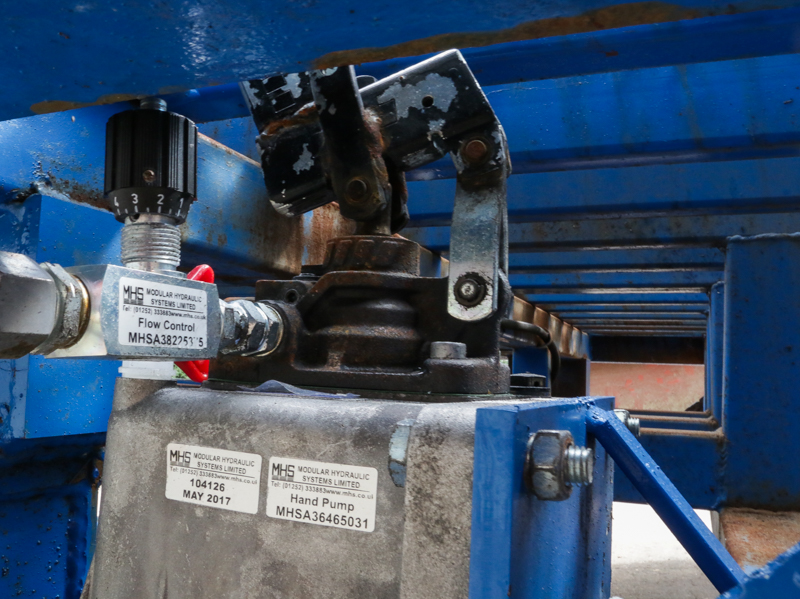 close-up on the hydraulic pump